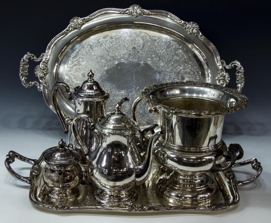 (9) COLLECTION OF DECORATIVE SILVERPLATE TABLEWARE