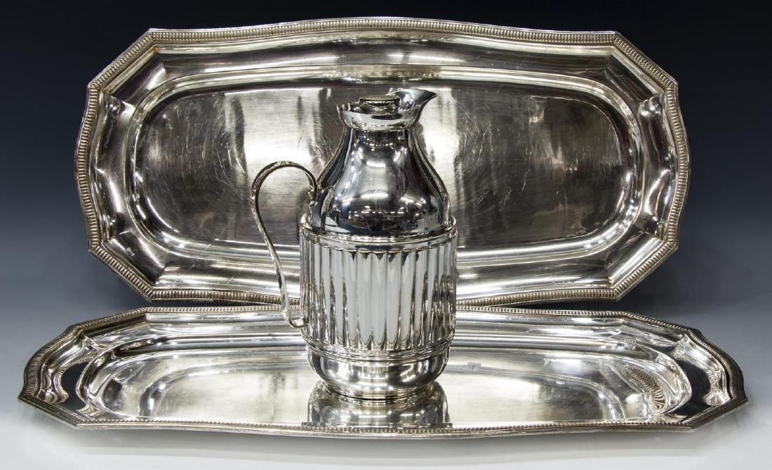 (3) SILVERPLATE TRAYS & INSULATED DRINKS PITCHER