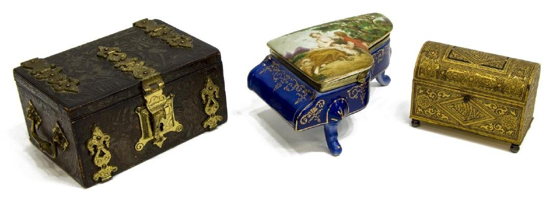 (3) MINIATURE DOMED GILT METAL BOX & TABLE BOXES