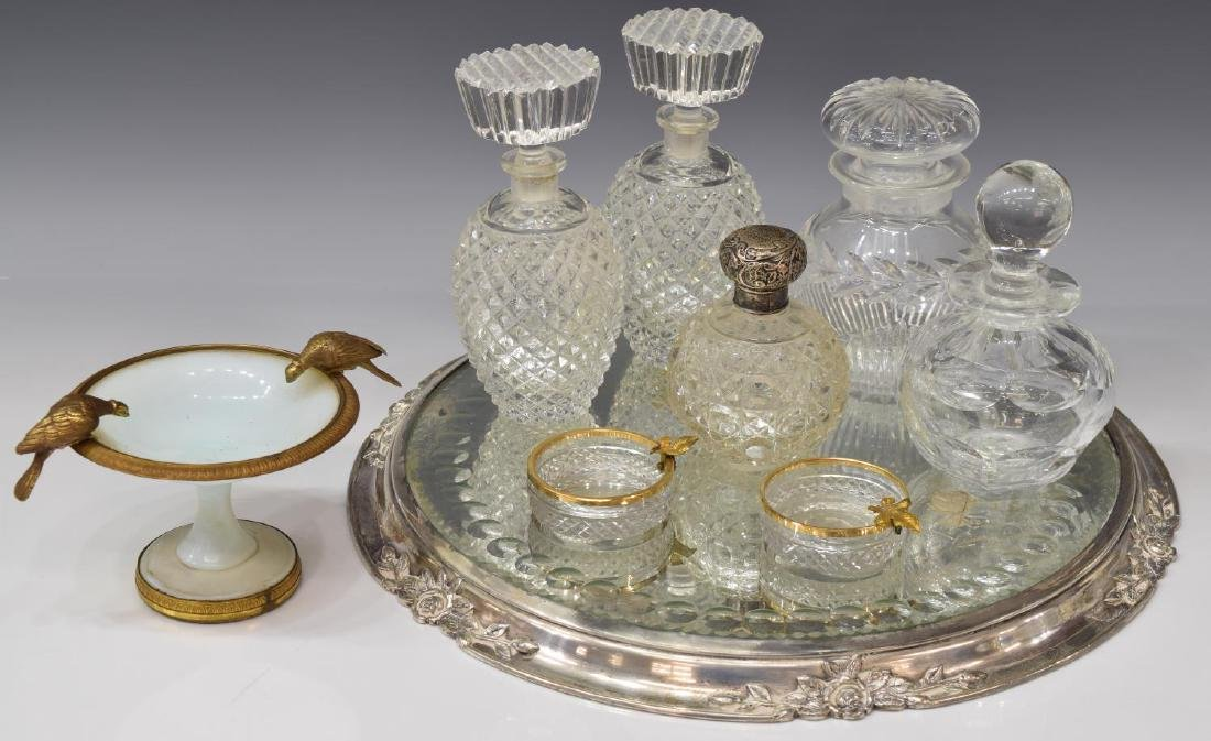 (9) COLLECTION OF DRESSER/ VANITY GLASS ITEMS