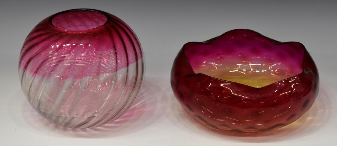 (6) VINTAGE ART GLASS VASES, BOWL & SILVER OVERLAY - 2