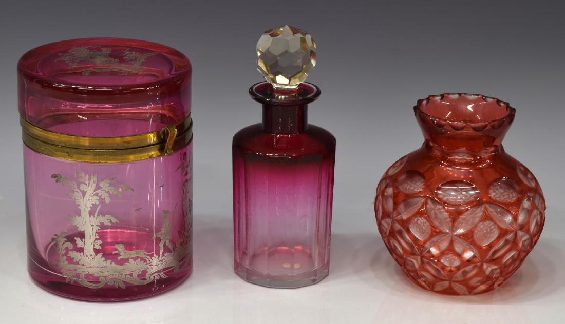 (6) VINTAGE ART GLASS VASES, BOWL & SILVER OVERLAY - 3