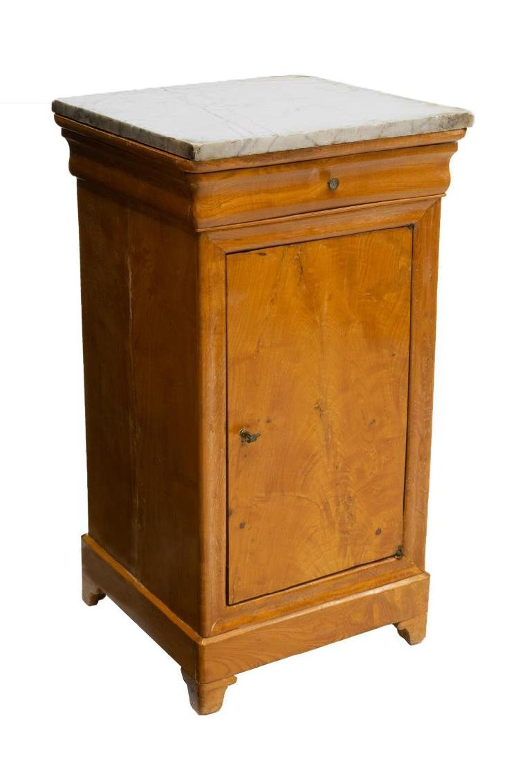 FRENCH CHARLES X MARBLE TOP BEDSIDE CABINET