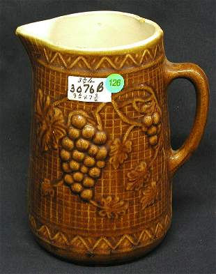 STONEWARE PITCHER GRAPES OVER BASKET BACKGROUND, B