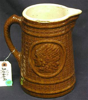 STONEWARE INDIAN PITCHER BROWN WAFFLE PATTERB WITH