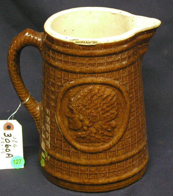 127: STONEWARE INDIAN PITCHER BROWN WAFFLE PATTERB WITH