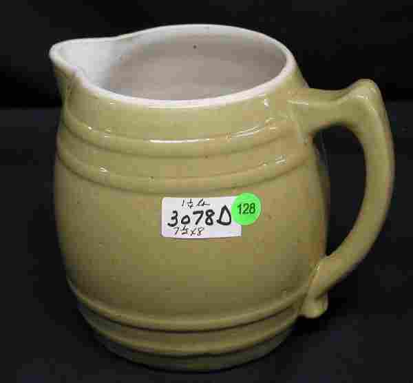 STONEWARE PITCHER TAN COLOR HANDLE, TWO RINGS TOP
