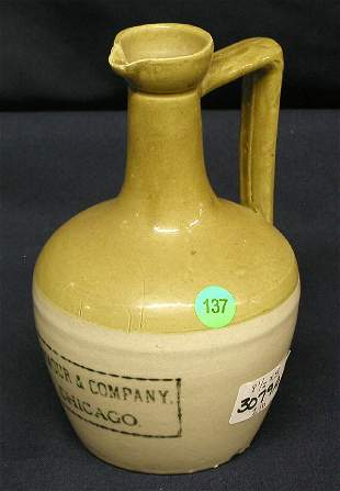 STONEWARE EWER ARMOUR & COMPANY, CHICAGO, BROWN TO
