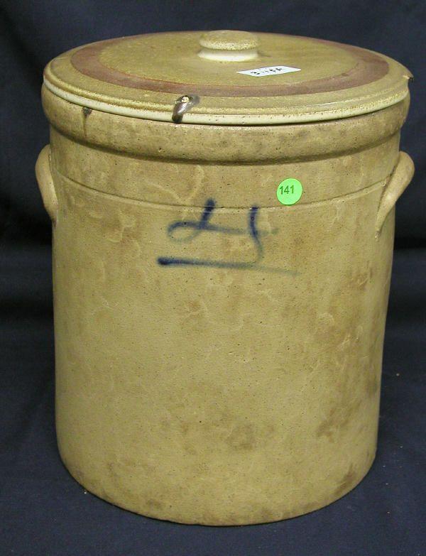 LARGE STONEWARE JAR DECORATED BLUE MARK ON FACE, 1