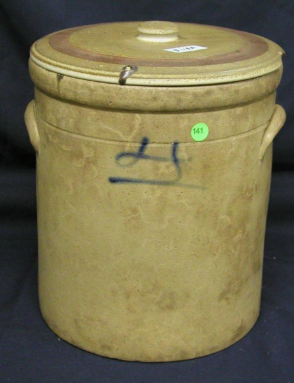 141: LARGE STONEWARE JAR DECORATED BLUE MARK ON FACE, 1