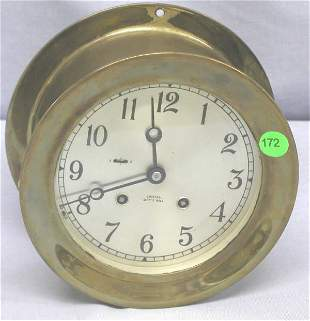 """BRASS SHIP CLOCK, KEY WOUND. FACE MARKED """"CHELSEA"""
