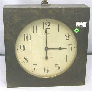LARGE OLD SETH THOMAS CLOCK ELECTRIC WITH G.E. MOT