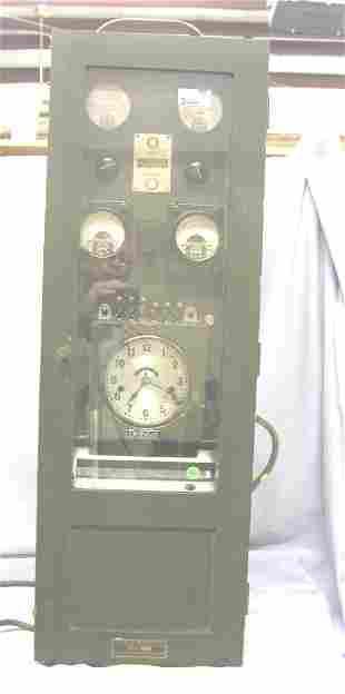 """BANK VAULT TIME CLOCK. 37""""H, 12.5""""W, 12.5""""D, WOOD"""
