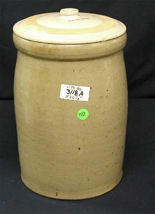 """STONEWARE W/ LID MARKED """"PART NO 12103C"""" CHIP ON"""