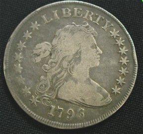 306: 1796 FLOWING HAIR DOLLAR COIN COINS.