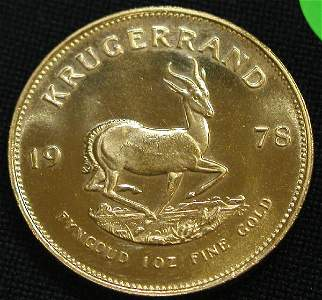 308: KRUGERRAND 1978 1 OUNCE GOLD COIN COINS.