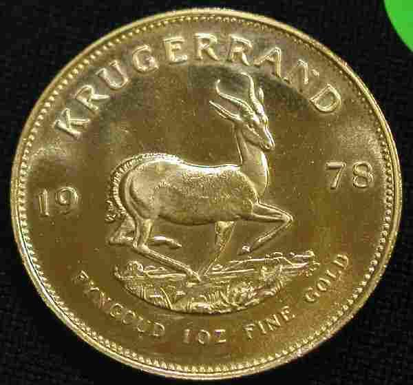 KRUGERRAND 1978 1 OUNCE GOLD COIN COINS.