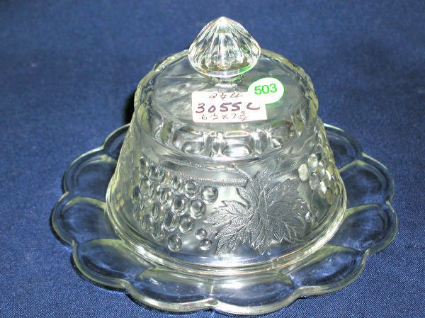 """503: COVERED BUTTER DISH GRAPE PATTERN CLEAR, 6.5""""H, 7."""