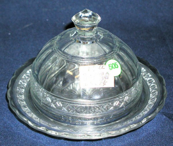 """505: COVERED BUTTER DISH CLEAR 5.5""""H, 7.25""""D, 1.25LBS,"""