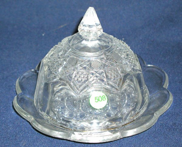 """508: PRESSED COVERED BUTTER DISH WEIGHT: 2LBS 6.5""""H X 8"""