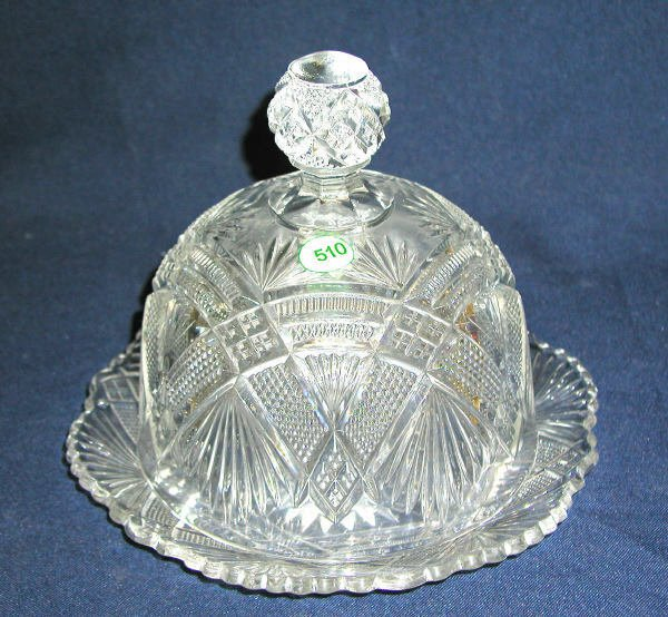 """510: COVERED BUTTER DISH PATTERN GLASS. CLEAR, 8""""H, 8.5"""