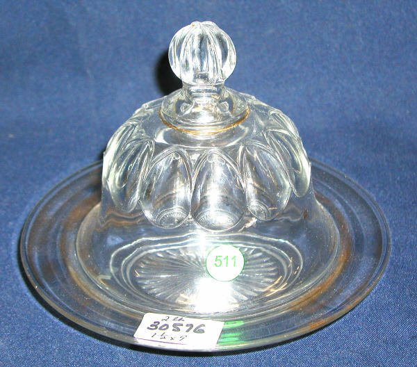 511: CLEAR GLASS COVERED BUTTER DISH SOME GOLD PAINT LO