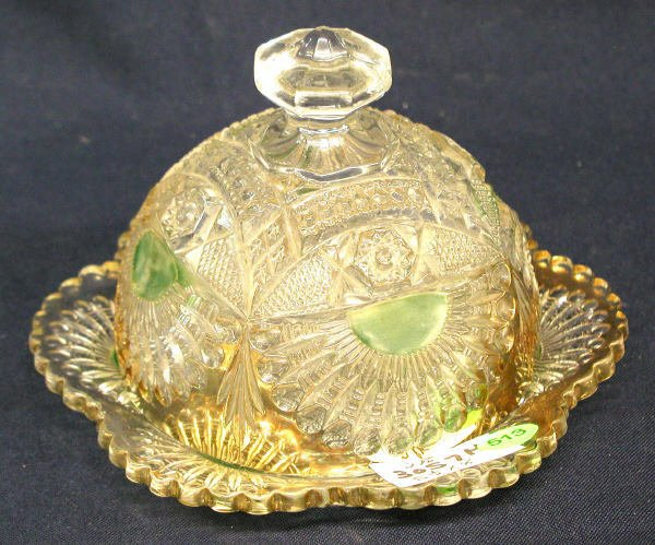 """513: GREEN, CLEAR, AND GOLD COVERED BUTTER DISH 5.5""""H X"""