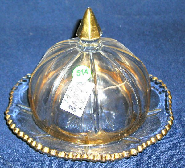 """514: COVERED BUTTER DISH GOLD ACCENT 6.5""""H, 7""""D, 1.75LB"""