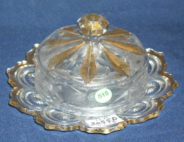 """515: COVERED BUTTER DISH GOLD ACCENTS 5""""H, 7.75""""D, 1.5L"""