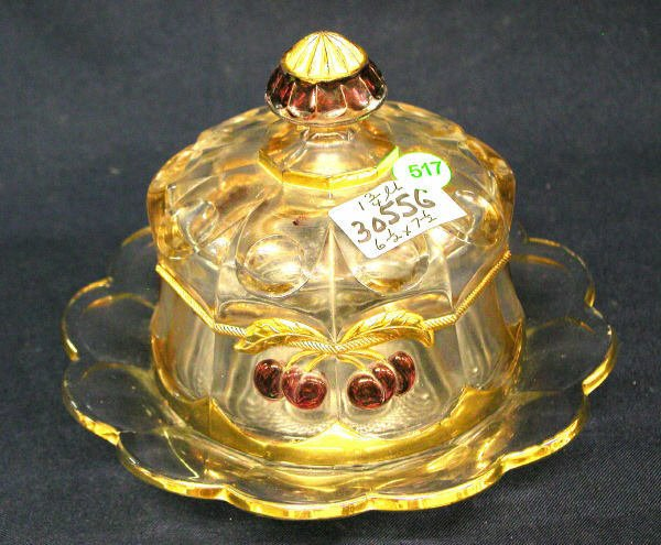 517: NORTHWOOD COVERED BUTTER DISH CHERRY & CABLE PATTE