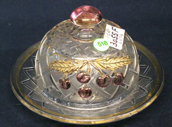 518: CHERRY COVERED BUTTER DISH GOLD ACCENTS, BASKET WE