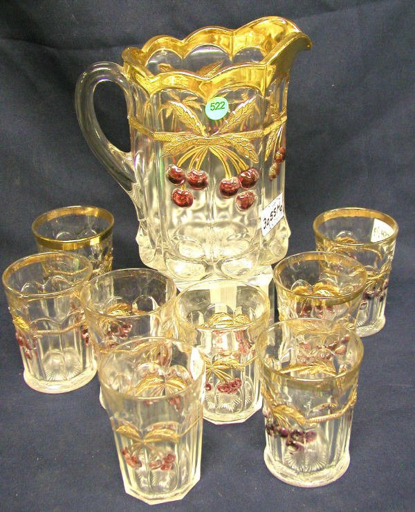 522: NORTHWOOD WATER SET 9 PIECES. GRAPE & CABLE PATTER