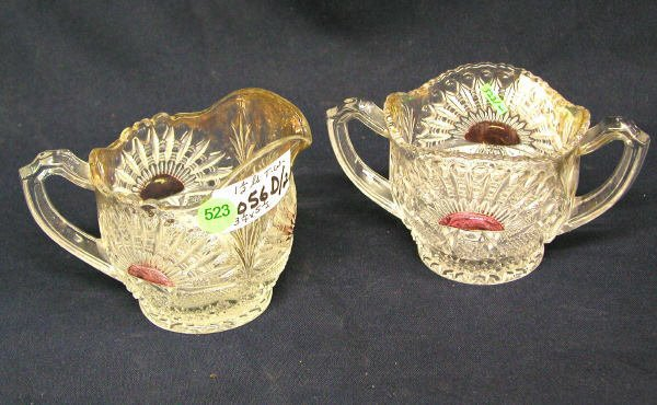 523: PATTERN GLASS CREAMER & SUGAR. CLEAR WITH GOLD AND