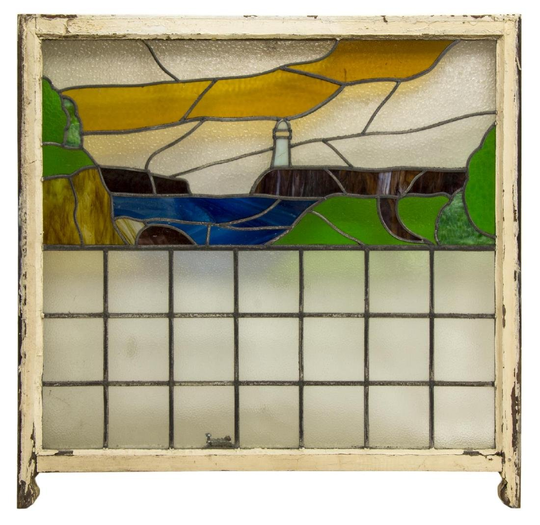 LARGE STAINED & LEADED GLASS LIGHTHOUSE WINDOW