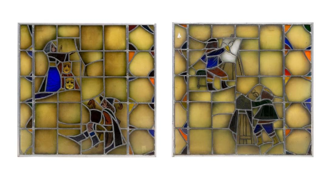 (2) ARCHITECTURAL LEADED & STAINED GLASS PANELS