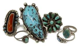 6 VINTAGE NATIVE AMERICAN TURQUOISE SILVER RINGS