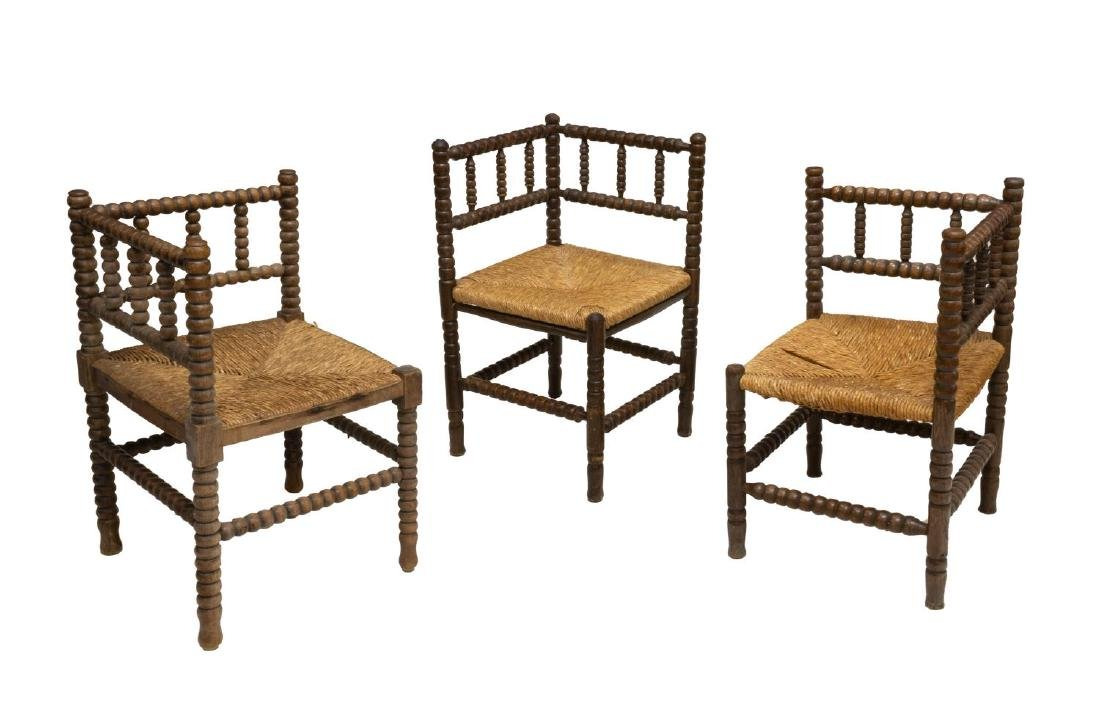 (3) ENGLISH TURNED OAK CORNER CHAIRS