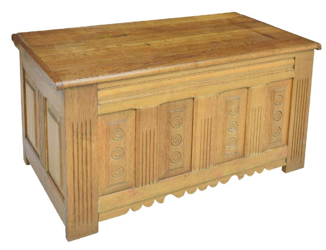 LARGE FRENCH CARVED OAK STORAGE CHEST
