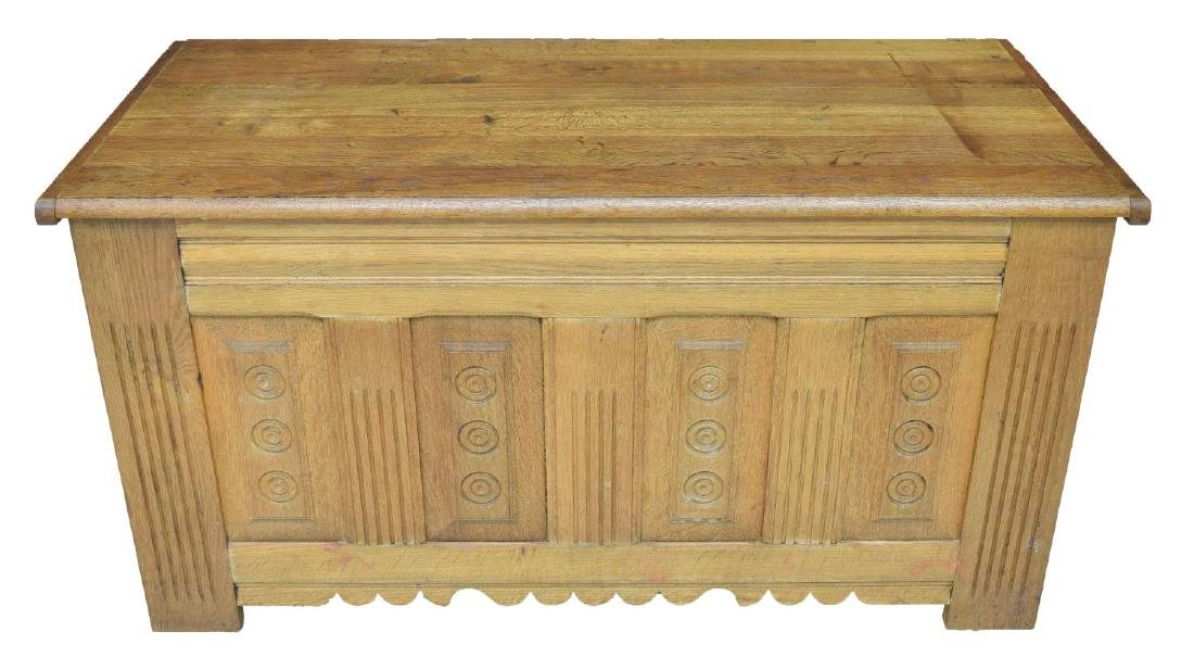 LARGE FRENCH CARVED OAK STORAGE CHEST - 3