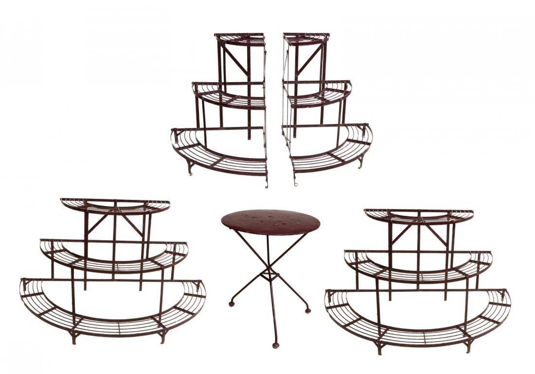 (5) FRENCH PAINTED IRON GARDEN STANDS & TABLE