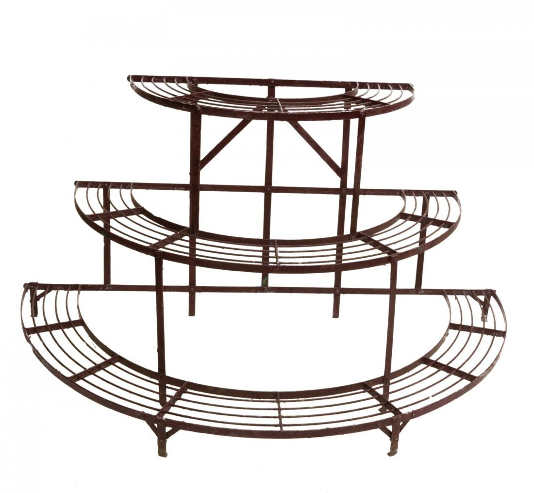 (5) FRENCH PAINTED IRON GARDEN STANDS & TABLE - 4