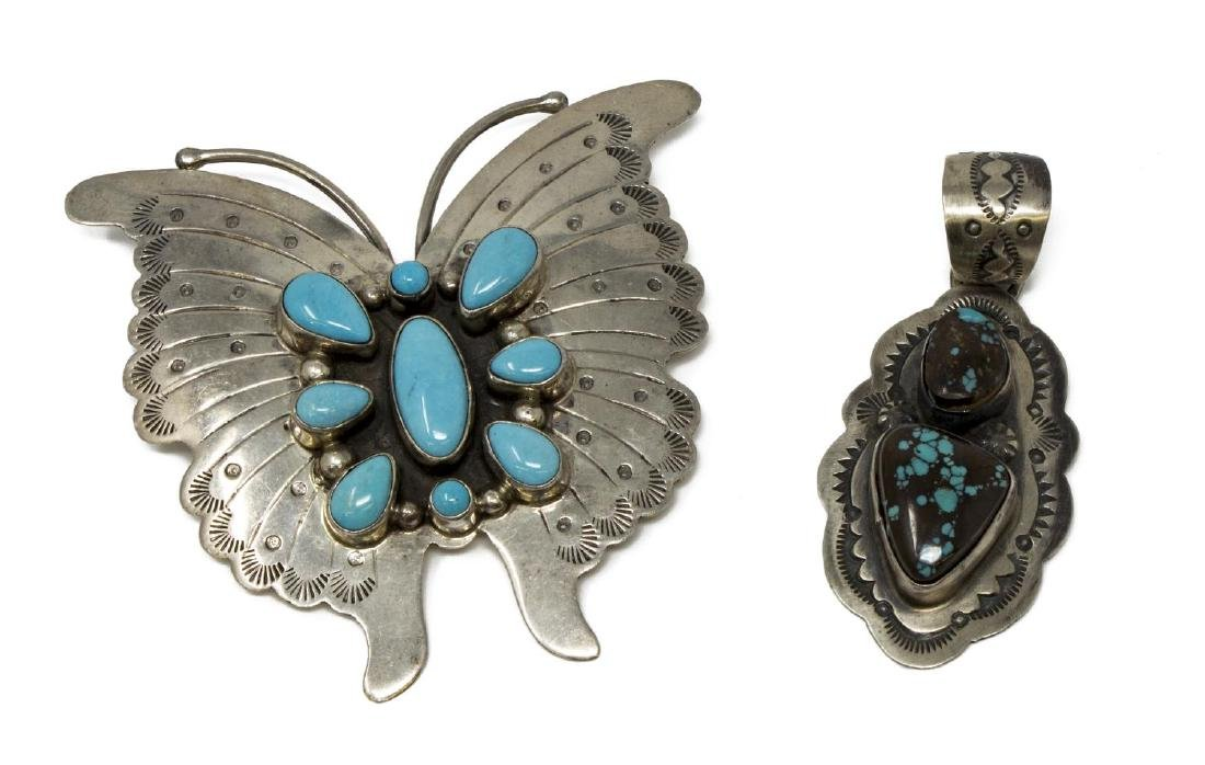 2) BOBBY JOHNSON NAVAJO STERLING TURQUOISE JEWELRY