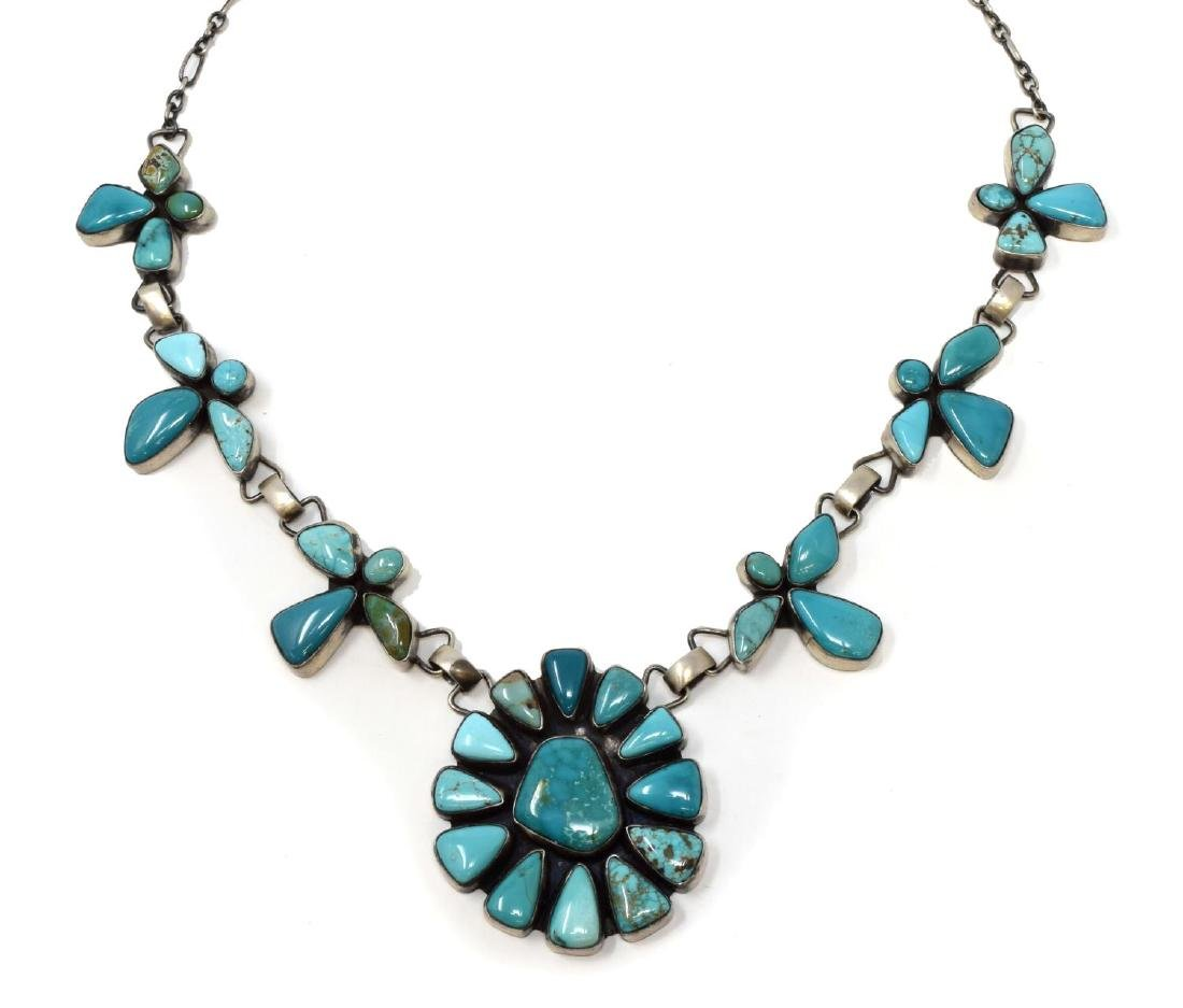 NAVAJO ELLA PETER STERLING TURQUOISE NECKLACE
