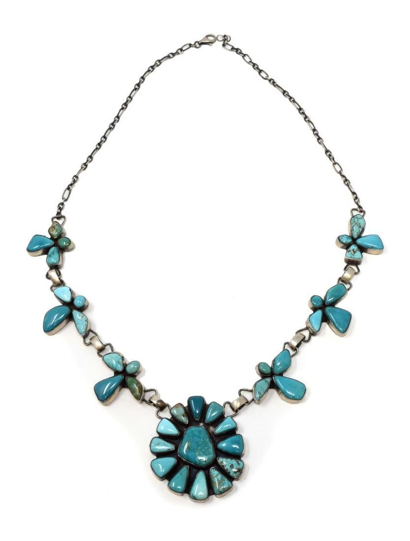 NAVAJO ELLA PETER STERLING TURQUOISE NECKLACE - 2