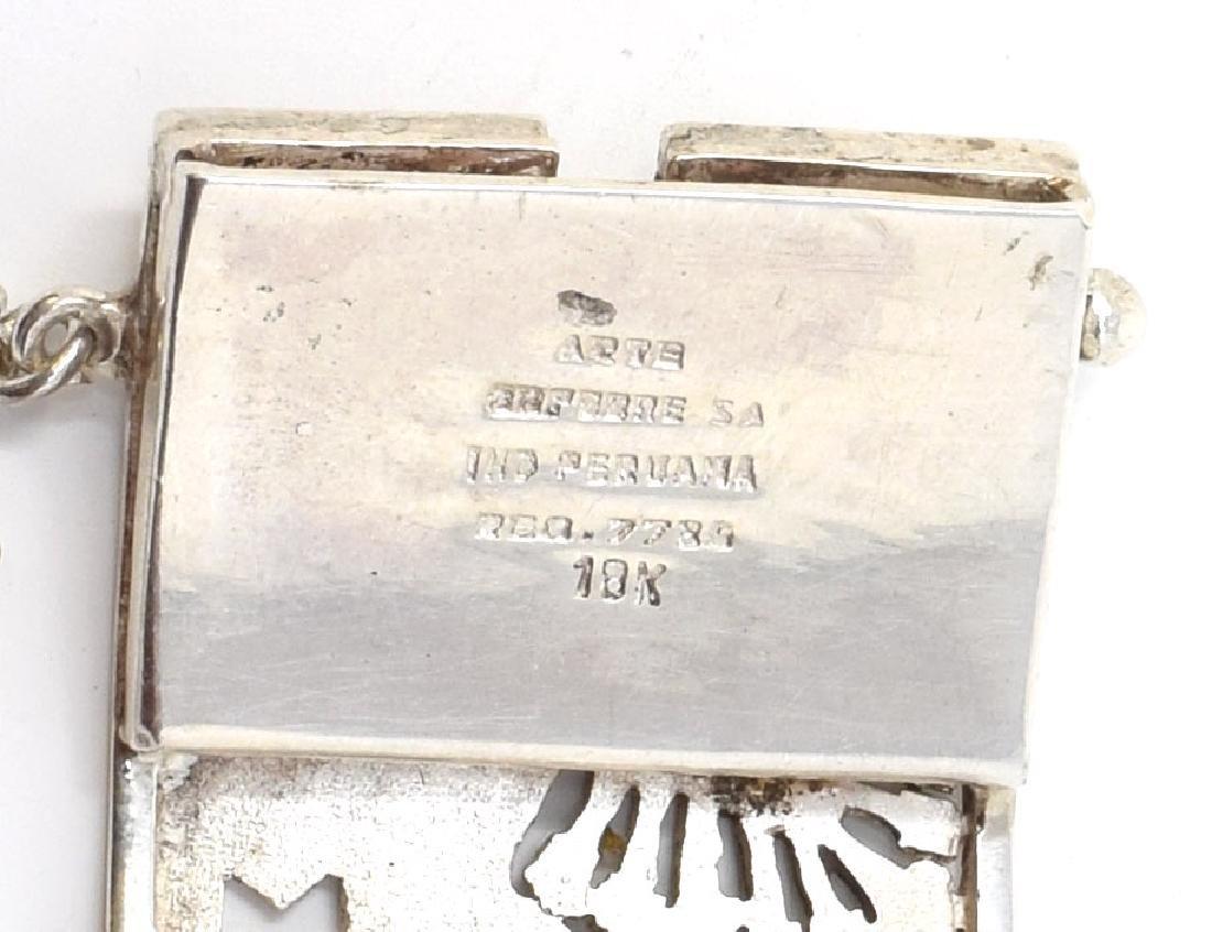PERUVIAN STERLING SILVER INCA CUFF BRACELET - 3