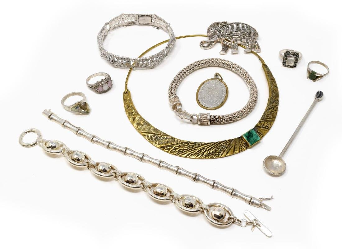 (12) COLLECTION OF STERLING & STUDIO JEWELRY