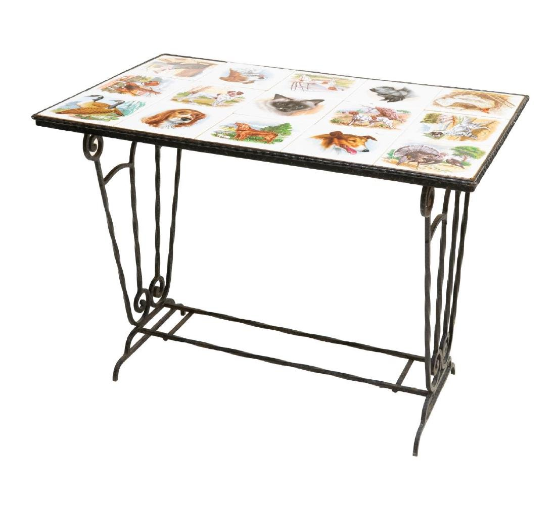 FRENCH MODERN ANIMAL TILE TOP IRON COFFEE TABLE