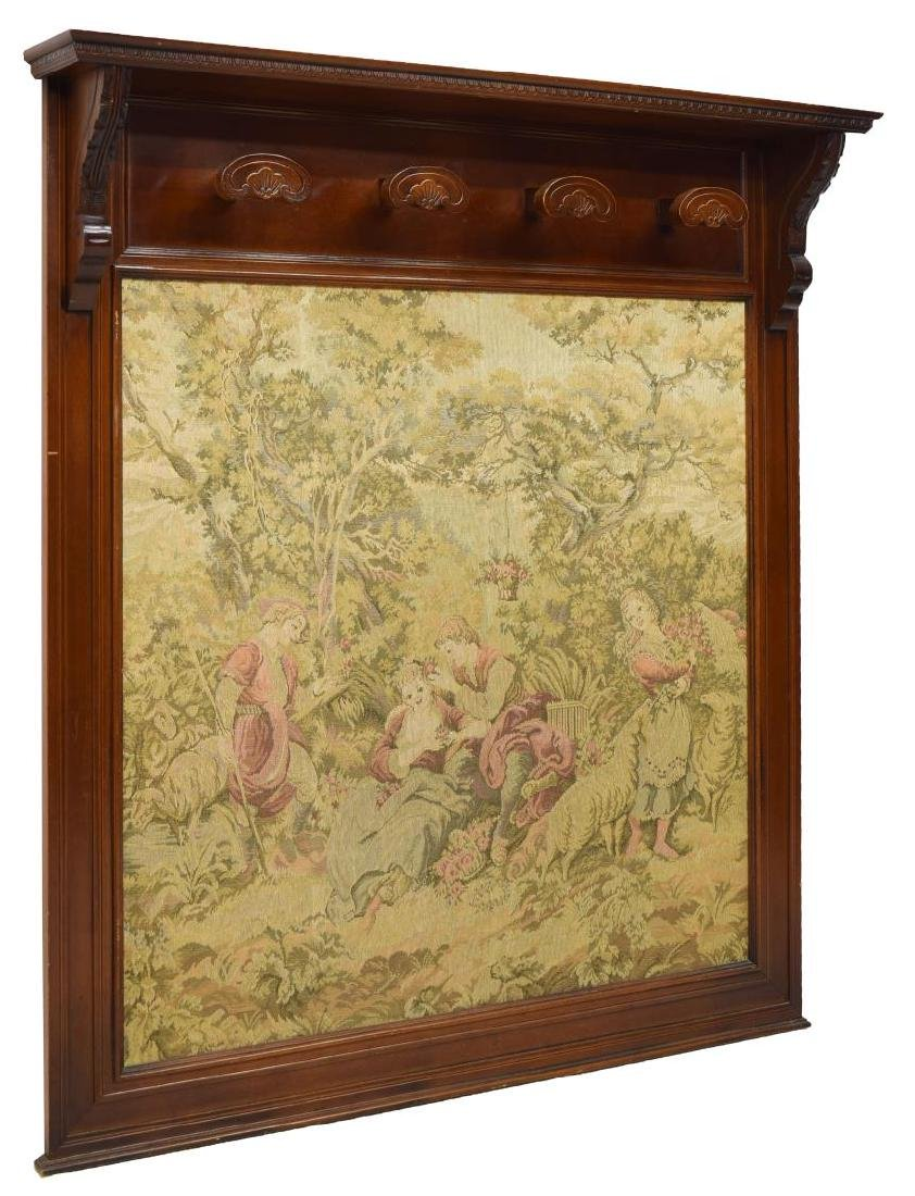 FRENCH HANGING HAT RACK WITH TAPESTRY PANEL