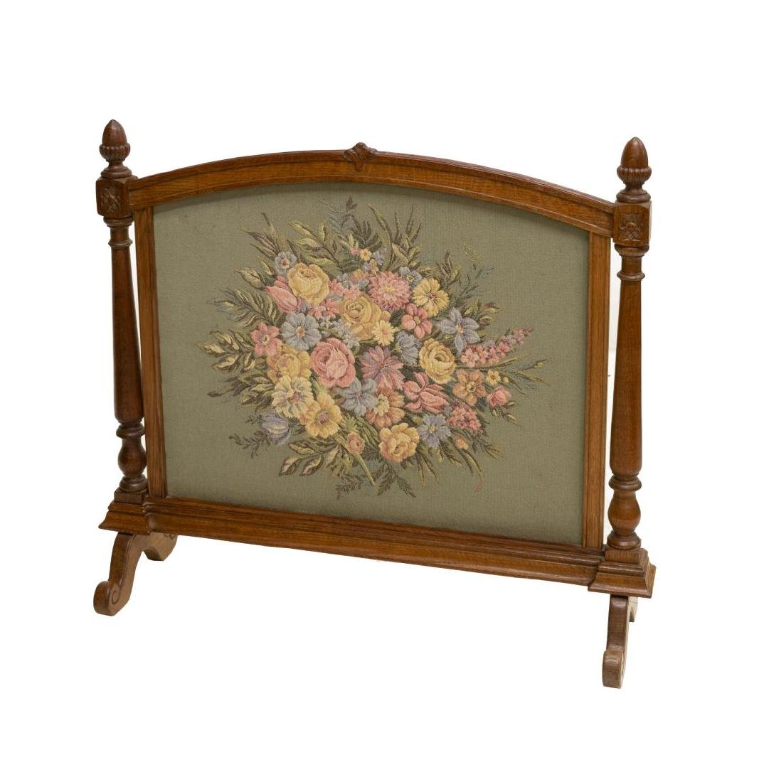 ENGLISH OAK FLORAL TAPESTRY FIRE SCREEN