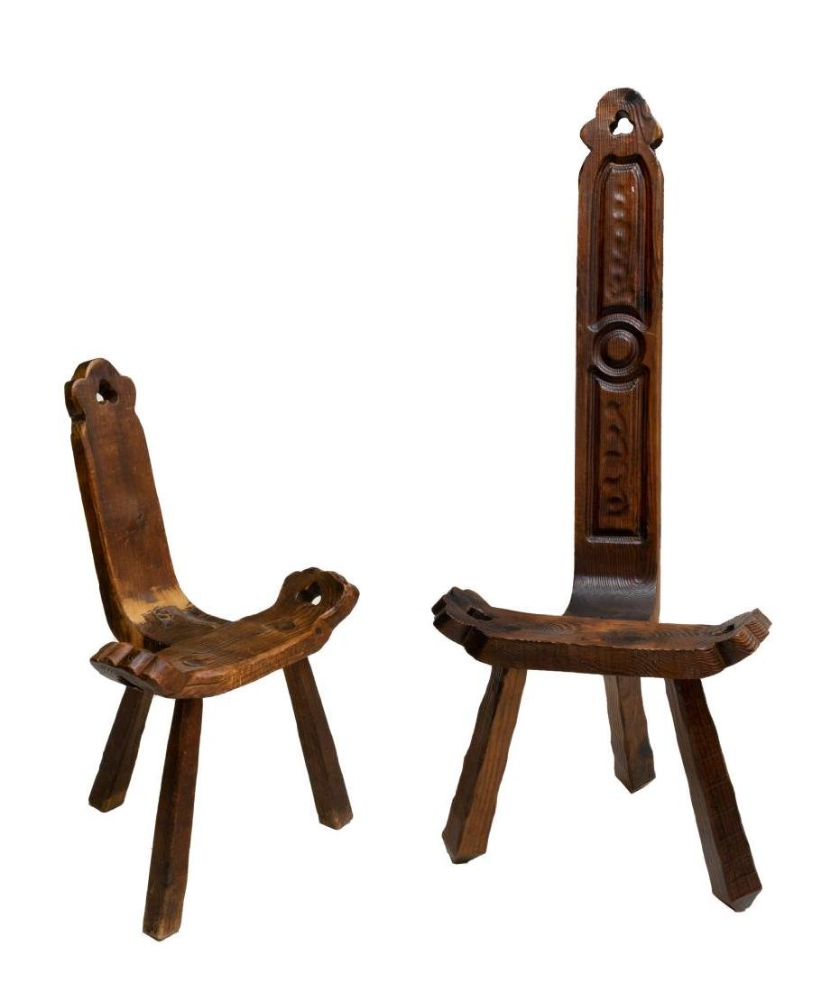 (2) CONTINENTAL PRIMITIVE RUSTIC CHAIRS